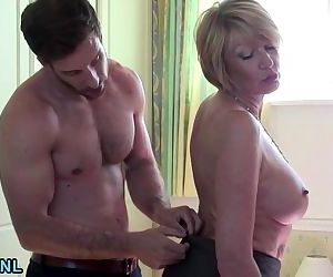 Lusty Busty mature fucks a young..
