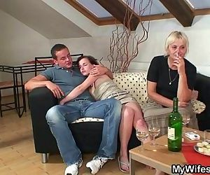 Horny granny lures her son-in-law..