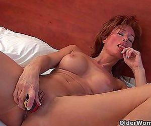 Sultry grandma Nina probes her..