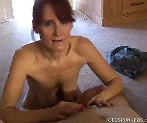 Skinny mature amateur sucks cock..
