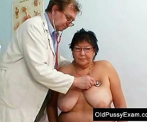 Busty elder woman gyn clinic exam..