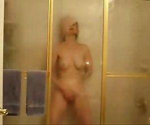 My horny mom fingering in shower...