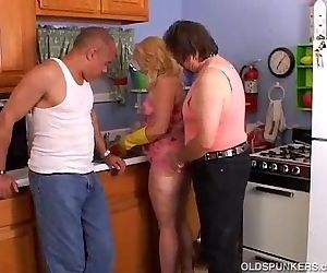 Cute chubby MILF spit roasted in..