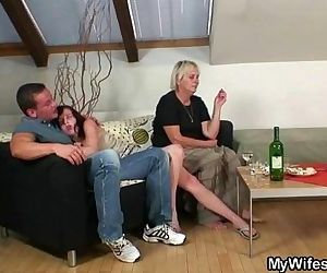 Horny granny seduces son in law -..