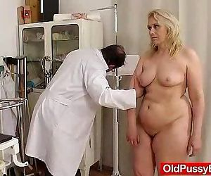 Blond-haired chubby milf explored..