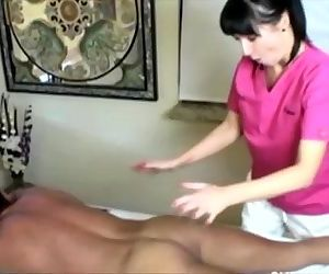 Cock hungry masseuse tugs her..