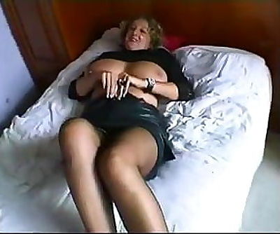 Busty mom gets fucked by 2 horny..