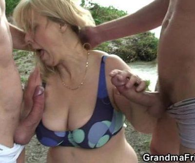 Oldie in hot threesome outdoor -..