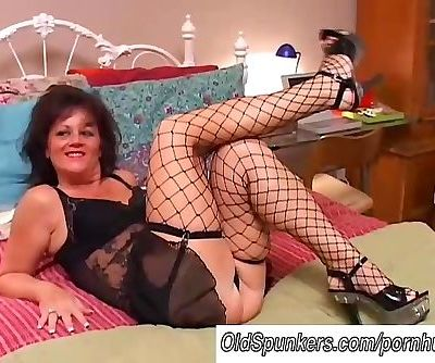 Sexy old spunker in stockings..