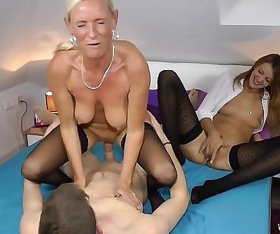 Two Milfs fucked hard with a..