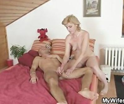 Horny guy drills his GF's mom pussy