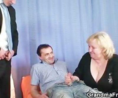 Blonde grandma gets slammed by..