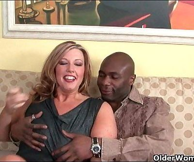 Milf lets black cock explode on..