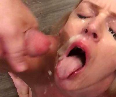 Blonde wife take 3 cock facial...