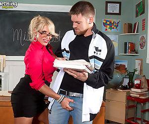 Older blonde teacher Gina West seduces a student at night school
