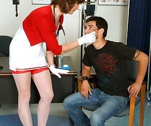 Mature nurse Elle Denay seduces a young boy that has come to her office