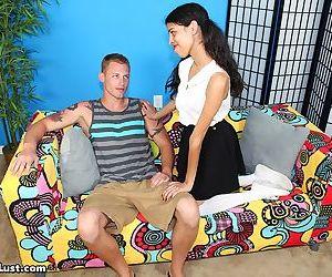 Thin brunette Lucinda Monet seduces her stepbrother in white knee socks