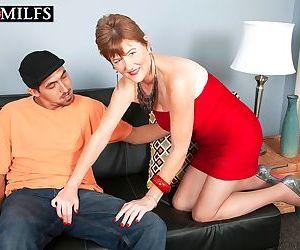 Mature redhead Allura James seduces her daughters boyfriend