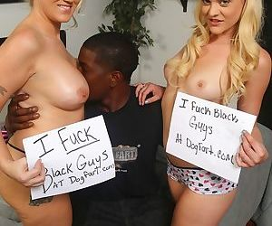 Black guy offers his big cock to the sexy Alana Evans and Miss Dellas