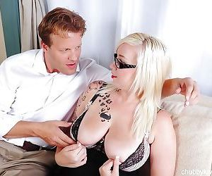Hardcore sex scene featuring mature fatty Brittany and her younger man