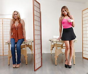 Blonde chicks Julia Ann and Kendall Kayden swap cum after blowing masseuse