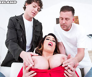 Middle aged BBW Amaya May sucks and fucks two men at the same time