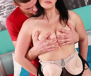 Older woman Elle Black takes hardcore fucking from a younger man