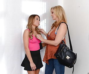 Blonde mommy Julia Ann and teen slut Kendall Kayden suck and ride dick