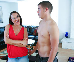 Michelle Lay fucks her sons hung friend and tastes a creamy cumshot