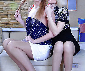 Adorable ponytailed cutie seduced by a milf into lesbian kisses - part 2580