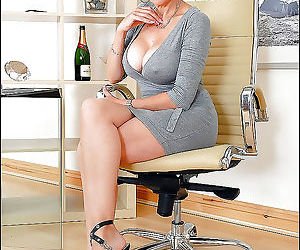 Seductive mature secretary in cotton dress spreading her sexy le - part 1540