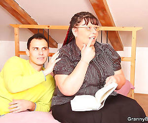 Busty fat granny whore having a stiff dick to suck and fuck her - part 4374