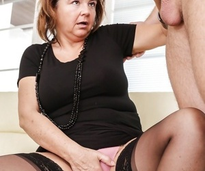 Older woman Yahra giving younger guy a much needed handjob and blowjob - part 2