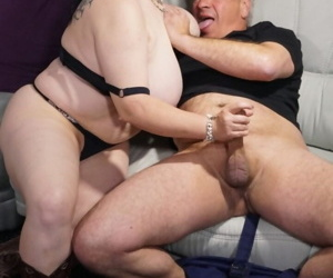 Amateur BBW mature with big saggy boobs sucks & titty fucks her oldmans cock