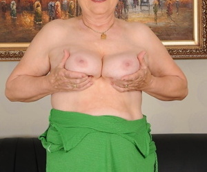 Horny mature granny Elizabet bends over to suck dick and to get banged hard