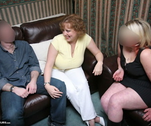 Mature amateur Curvy Claire has a couple suck on her giant tits