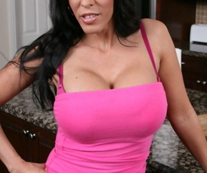 Busty wife Veronica Rayne whips out big tits & spreads legs on kitchen counter