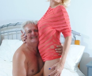 Slender blonde mature MILF does deepthroat & climbs aboard fat oldman cock