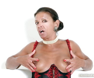 Experienced UK dame Lady Sarah showing off long and puffy nipples