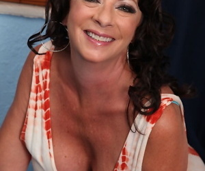 Aged brunette lady Margo Sullivan flashing pretty upskirt panties