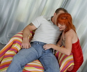 Redhead mature chick gives head and jumps on a cock without getting tired