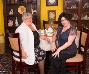 Obese nan Grandma Libby and her friend turn lesbian after the taking of tea