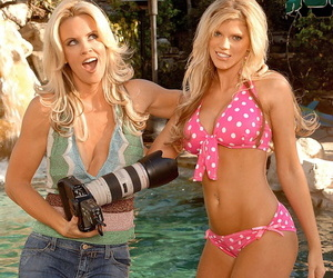 American blondie Jenny McCarthy having a photoshoot under the waterfall
