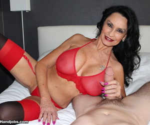 Big titted old woman Rita Daniels sucks and jacks a hard dick