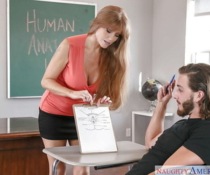 Mature teacher Darla Crane fucking student with big dick on desk