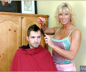 mature hairdresser with sexy tits TJ Powers fucks with her customer