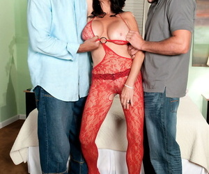 Two horny men give sexual joy to Rita Daniels with their big penises