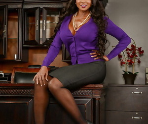 Black babe Diamond Jackson exposing large mature juggs in office