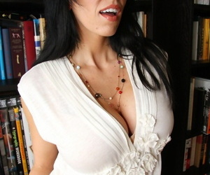Horny librarian Alia Janine sucks stepsons cock and gives him tittyfucking