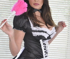 Busty mature maid in uniform and black stockings flashing hot panty upskirt